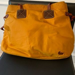Dooney Bourke nylon gold exterior shoulder bag